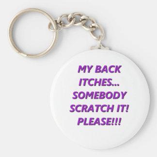 Mes démangeaison de dos porte-clé rond