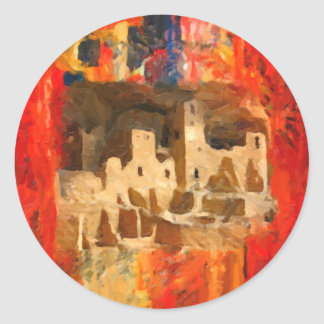 Mesa Verde Adobe Cliffs Southwestern Round Sticker