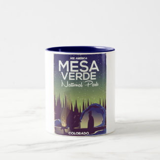 Mesa Verde National Park Camping travel poster Two-Tone Coffee Mug
