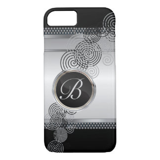Mesh Steel with Circular Silver & Black on Black iPhone 7 Case