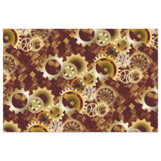 Meshing Gears on Gold and Bordeaux Abstract Blocks Tissue Paper