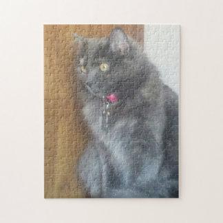 Mesmerized Gray Cat Jigsaw Puzzle