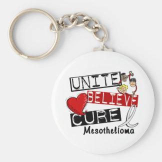Mesothelioma UNITE BELIEVE CURE Keychain
