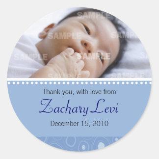 Message bleu de bébé de boule de gomme sticker rond