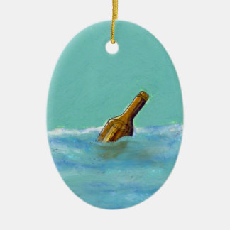 Message in a bottle at sea oil pastel drawing art ceramic ornament