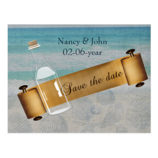 Message in a bottle Beach Wedding Postcard