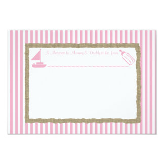 """Message in A Bottle Sail boat Baby Shower Pink 3.5"""" X 5"""" Invitation Card"""