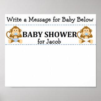 Message Keepsake Monkey Baby Shower Poster