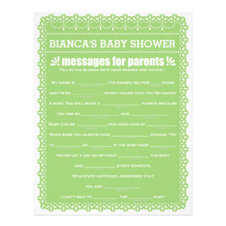 Messages for Parents Green Papel Picado Shower Custom Letterhead