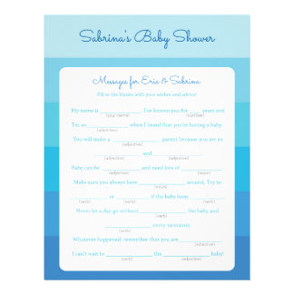 Messages for Parents To Be Blue Ombre Baby Shower Customized Letterhead