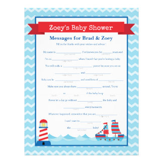 Messages for Parents To Be Nautical Baby Shower Custom Letterhead