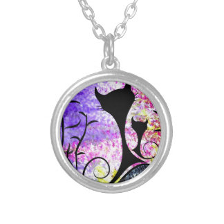 Messemios - black cats silver plated necklace