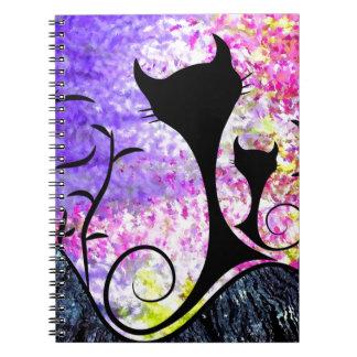 Messemios - black cats spiral notebook