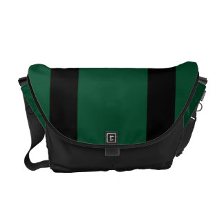 Messenger Bag, Black & Green Racing Stripes Commuter Bag