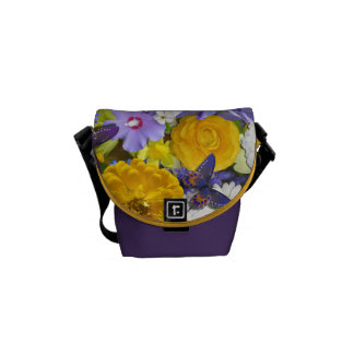 Messenger Bag - Flowers and Butterflies