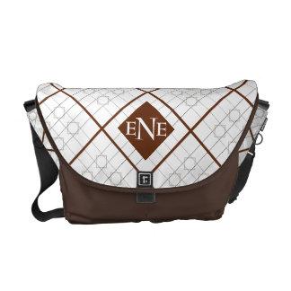 Messenger Bag Squares & Diamonds Your Initials