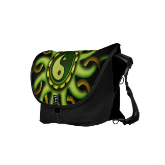 Messenger Bag, Yin Yang Sun, Gold, Green, Black Messenger Bag