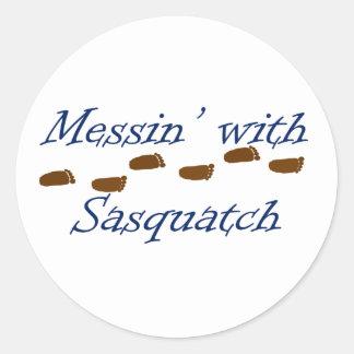 Messin' with Sasquatch Classic Round Sticker