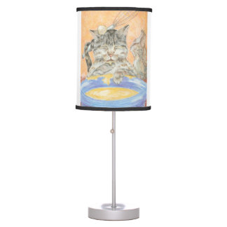 Messy Baker Cat Cartoon Art Table Lamp