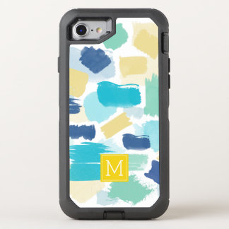 Messy Bright Paint Strokes and Yellow Monogram OtterBox Defender iPhone 8/7 Case