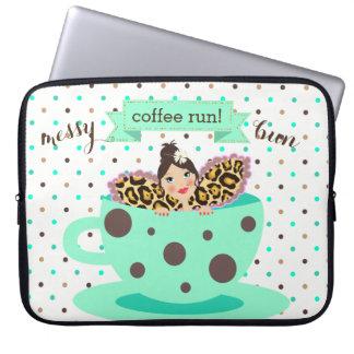 Messy Bun Coffee Run coffee fairy Laptop Sleeve