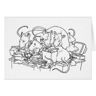 Messy desk. card