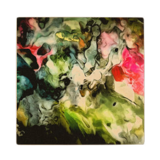 Messy Palette Abstract Pattern Wood Coaster