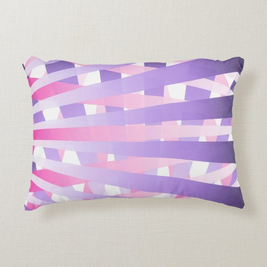 Messy Purple and Pink Gradient Sunburst Stripes Decorative Pillow