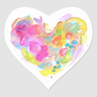 Messy Watercolor Heart Sticker - YELLOW