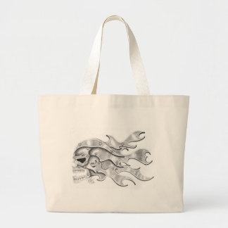 metal affect skull large tote bag
