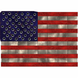Metal Amercian Flag, cut-out magnet Standing Photo Sculpture