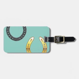 Metal and Golden Horseshoes Luggage Tag