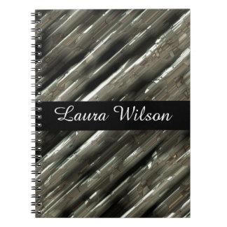Metal blocks customizable black centre spiral notebook