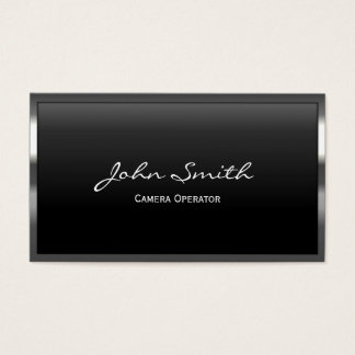 Metal Border Camera Operator Business Card