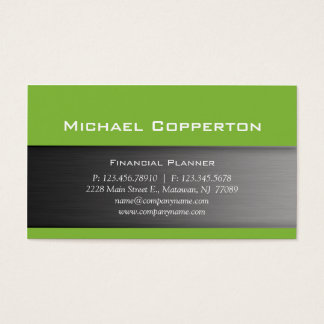 Metal Business Card Lime Green Header