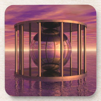 Metal Cage Floating In Water Beverage Coasters
