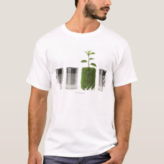 Metal cans and new seedling growth showing T-Shirt