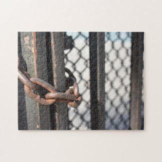 Metal Chain Link Fence Original NYC Photograph Jigsaw Puzzle