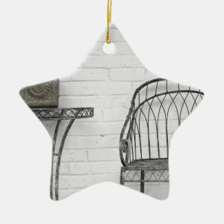Metal chair and table ceramic star ornament