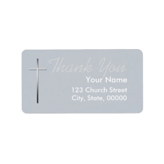 Metal Christian Cross Thank you label custom Color