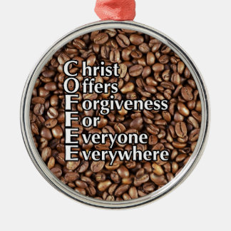 Metal Christmas Ornament COFFEE Christ Offers Forg