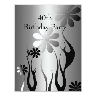 Metal Chrome Black White Style Silver 40th Floral Card