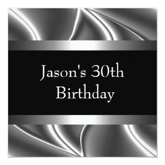 Metal Chrome Black White Style Silver Mens 30th Card