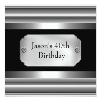 Metal Chrome Black White Style Silver Mens 40th Card