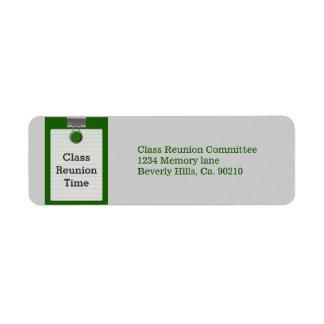 Metal Clip Notepaper Green Class Reunion