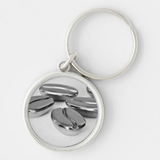 Metal Coffee Beans Keyring Silver-Colored Round Keychain