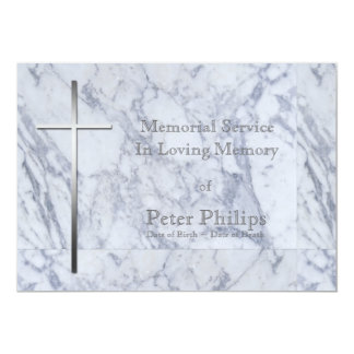 Metal Cross Marble 2 Funeral Announcement