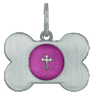 Metal Cross on Pink Leather Pet ID Tag