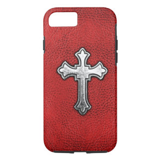 Metal Cross on Red Leather iPhone 8/7 Case