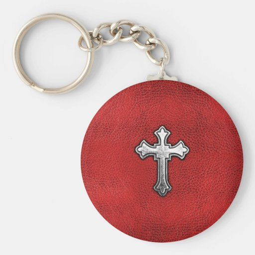 Metal Cross on Red Leather Keychains